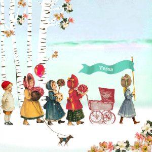 Nostalgisch geboortekaartje winter. De kindjes lopen in parade door het sneeuwlandschap.