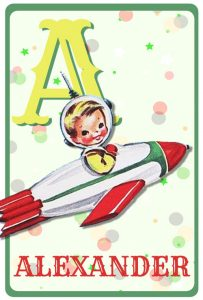 Geboortekaartje retro vintage met retro raket en sterren. De retro vintage geboortekaartjes zijn geïnspireerd op de retro alfabet boekjes
