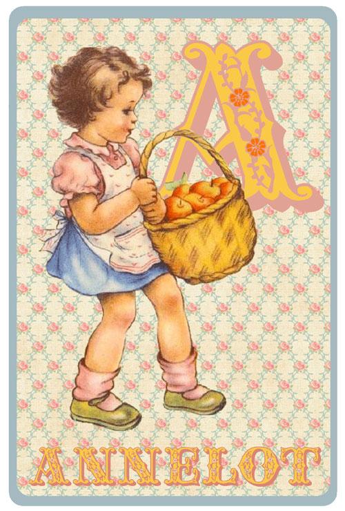 Retro geboortekaartje met meisje dat mand appels draagt