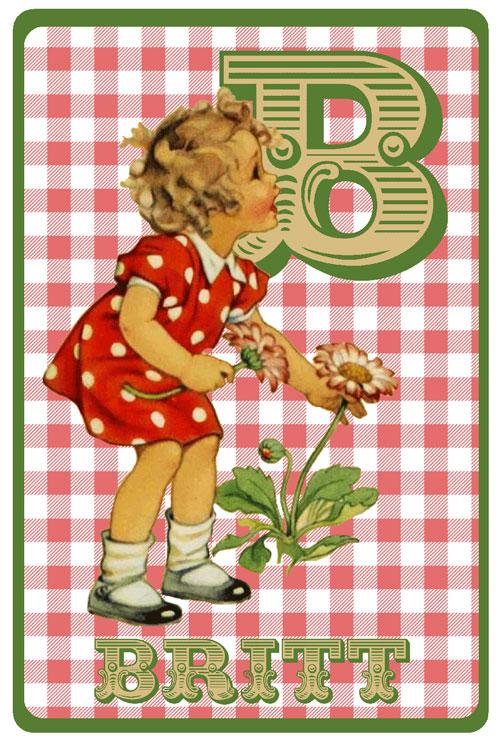 Retro geboortekaartje met meisje dat bloemen plukt