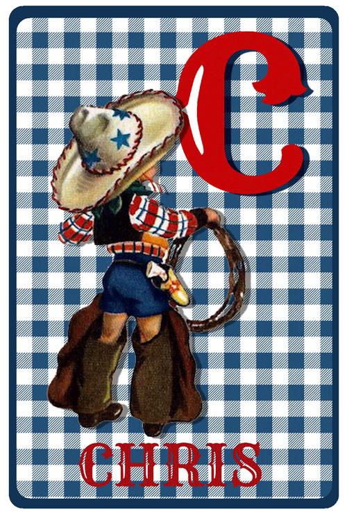 Geboortekaartje retro vintage met cowboy. De retro vintage geboortekaartjes zijn geïnspireerd op de retro alfabet boekjes