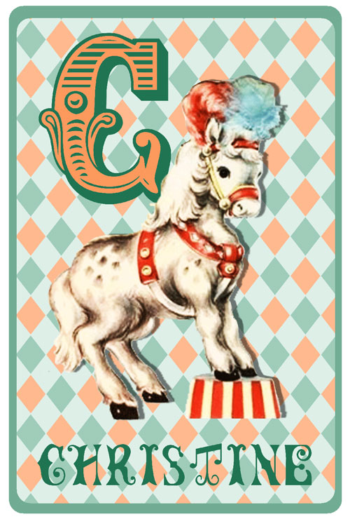 Retro geboortekaartje met circus paard