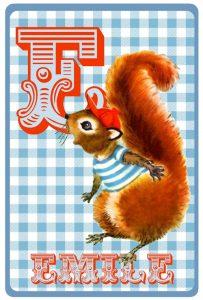 Geboortekaartje retro vintage met eekhoorn in streeptrui. De retro vintage geboortekaartjes zijn geïnspireerd op de retro alfabet boekjes