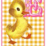 Retro geboortekaartje met geel retro eendje