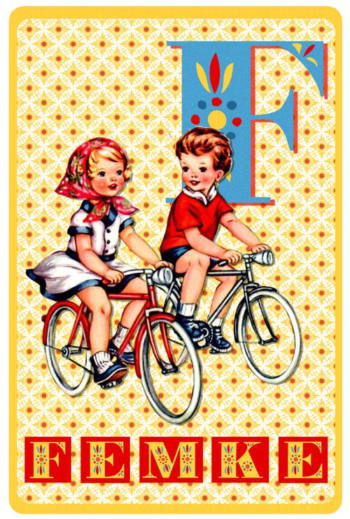 Retro geboortekaartje met fietsend jongetje en meisje