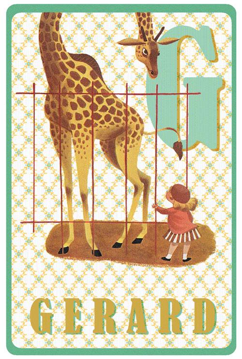 Geboortekaartje retro vintage met giraffe. Kleuren mint en okergeel. De retro vintage geboortekaartjes zijn geïnspireerd op de retro alfabet boekjes