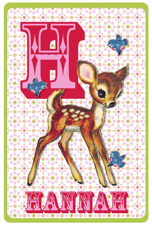 Retro geboortekaartje met hertje en vogels. Bambi hertje