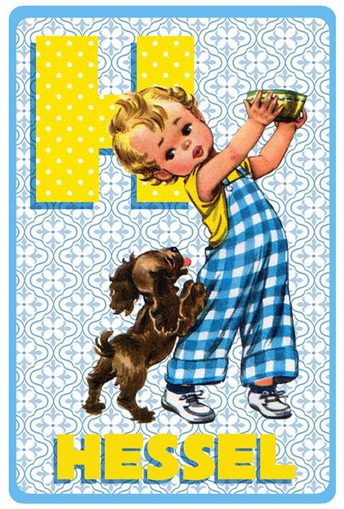 Geboortekaartje retro vintage met jongetje en zijn hondje. De retro vintage geboortekaartjes zijn geïnspireerd op de retro alfabet boekjes