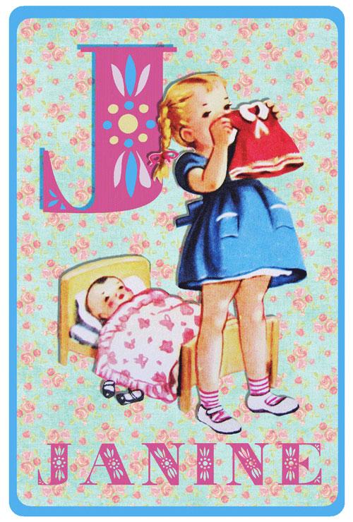 Geboortekaartje retro alfabet, spelend meisje