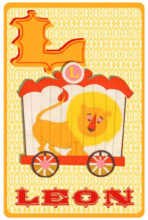 Geboortekaartje retro vintage met circus leeuw. De retro vintage geboortekaartjes zijn geïnspireerd op de retro alfabet boekjes