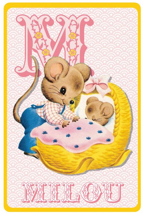 Geboortekaartje retro alfabet, vader muis met baby muis in wiegje