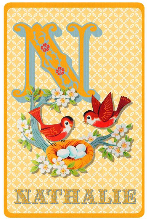 Geboortekaartje retro alfabet, vogels met een vogelnestje