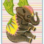 Retro geboortekaartje alfabet, circus olifant