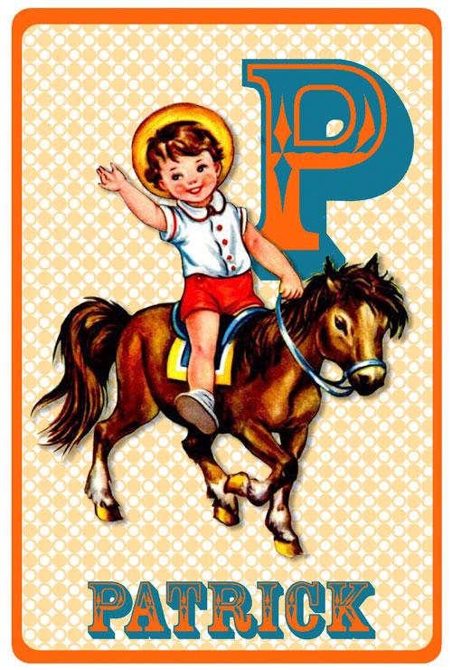 Geboortekaartje retro vintage met jongetje op een paard of pony. De retro vintage geboortekaartjes zijn geïnspireerd op de retro alfabet boekjes