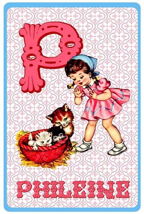 Retro geboortekaartje alfabet, meisje met nestje poezen