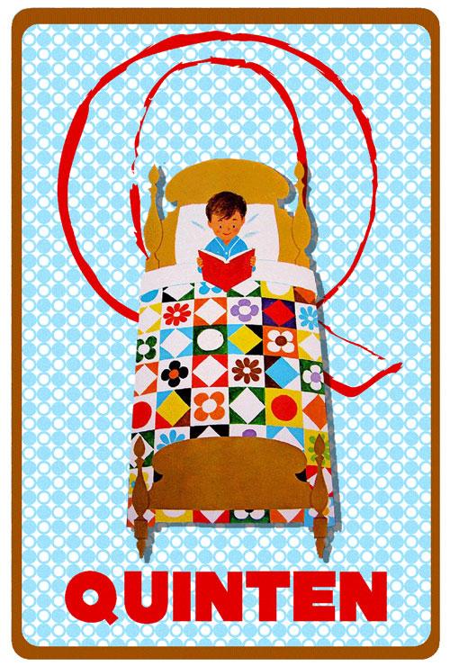 Geboortekaartje retro vintage met lezend jongetje onder een quilt. De retro vintage geboortekaartjes zijn geïnspireerd op de retro alfabet boekjes