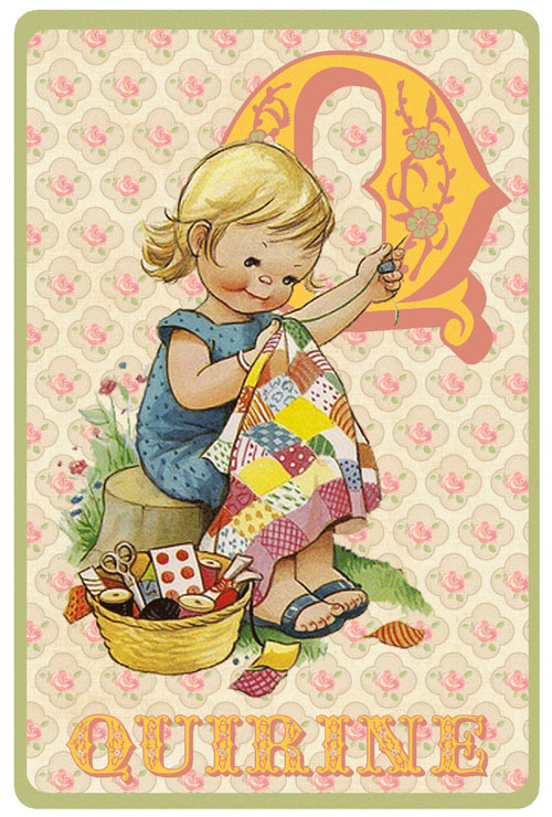 Retro geboortekaartje alfabet, meisje maakt een quilt