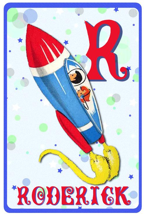 Geboortekaartje retro vintage in space met retro raket. De retro vintage geboortekaartjes zijn geïnspireerd op de retro alfabet boekjes