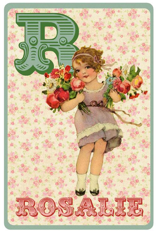 Retro geboortekaartje alfabet, vintage meisje met bloemen en rozen