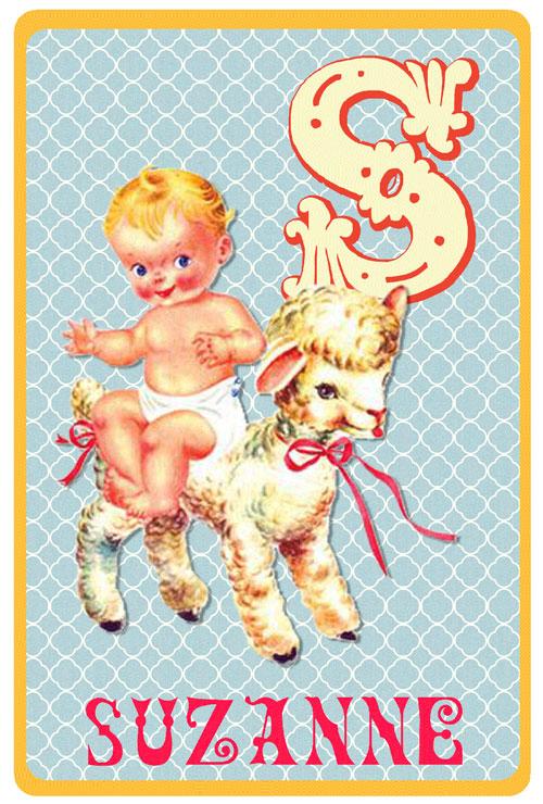 Retro geboortekaartje alfabet, baby op een schaap