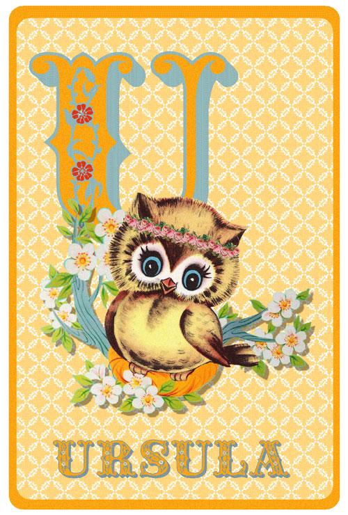 Retro geboortekaartje alfabet, uiltje op een tak met bloemen