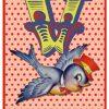 Retro geboortekaartje alfabet, vogel met hoedje op