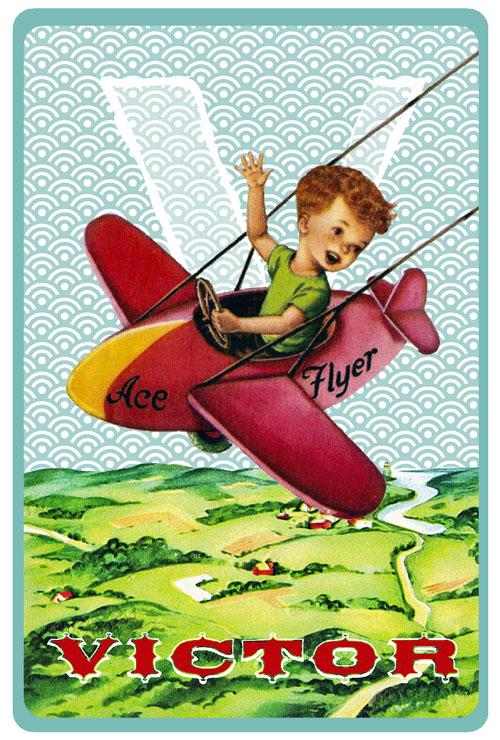 Retro geboortekaartje met retro vliegtuig. Geboortekaartjes geïnspireerd door het retro alfabet en gouden boekjes