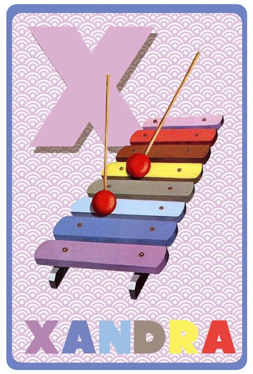 Retro geboortekaartje met retro xylofoon. Geboortekaartjes geïnspireerd door het retro alfabet en gouden boekjes