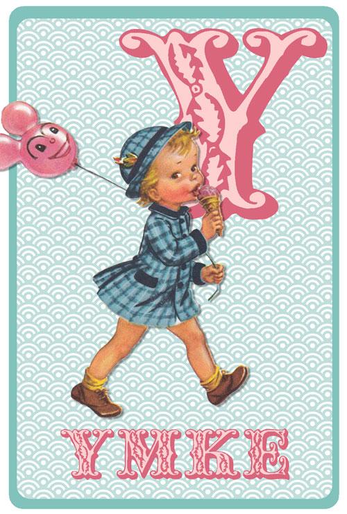 Retro geboortekaartje alfabet, meisje met ijs en ballon.
