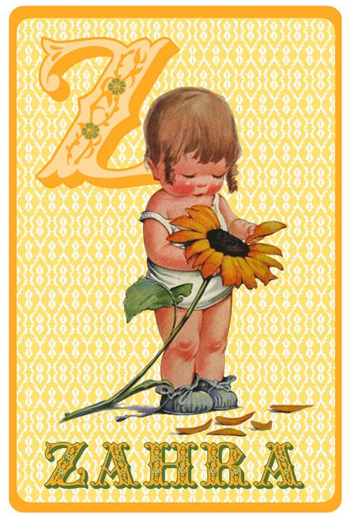 Retro geboortekaartje met meisje en zonnebloem. Geboortekaartjes geïnspireerd door het retro alfabet