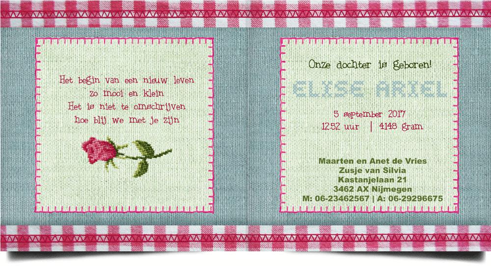 Nostalgisch geboortekaartje dat wel handwerk lijkt met geborduurde roos. Veel meer van deze geboortekaartjes in de collectie van Studio POPPY. Kleine veranderingen zijn gratis.