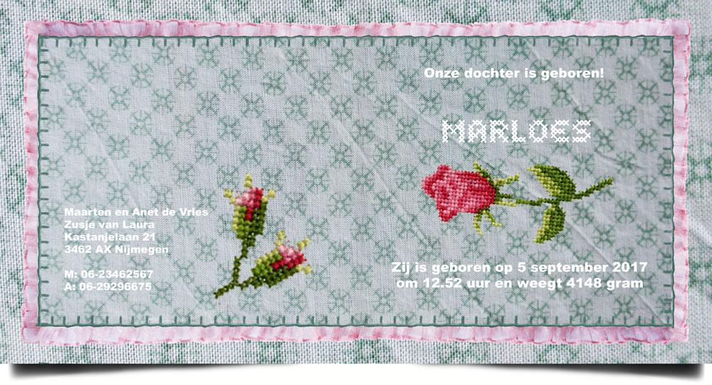 Nostalgisch geboortekaartje met geborduurde roosjes. Een geboortekaartje dat wel handwerk lijkt. Veel meer van deze geboortekaartjes in de collectie van Studio POPPY. Kleine veranderingen zijn gratis.