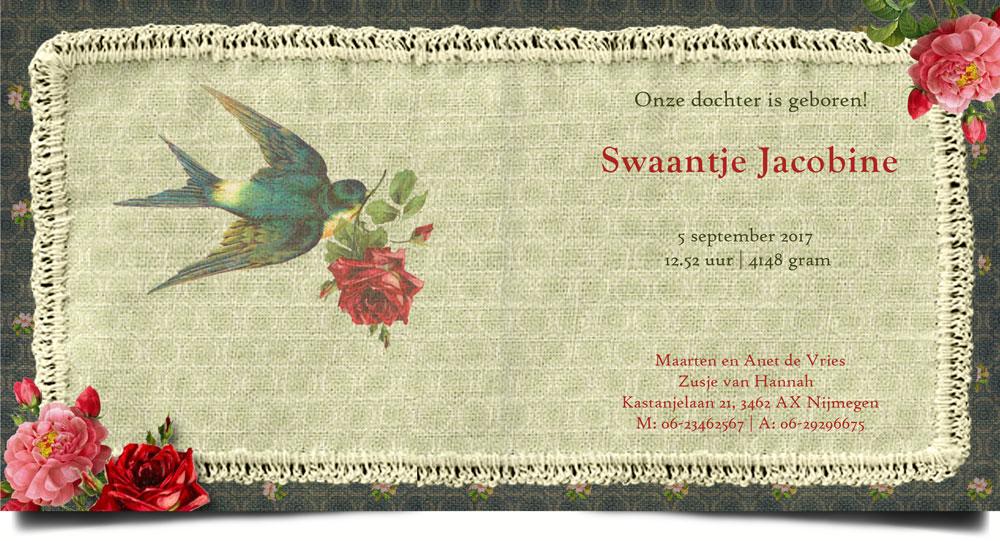 Nostalgisch geboortekaartje handwerk met foto, zwaluw en rozen