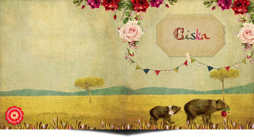 Een vintage geboortekaartje tweeling in de typisch authentieke stijl van Studio POPPY. Moeder beer loopt met haar tweeling door het woud waar weelderige rozen bloeien. Daarbij zijn de slingers opgehangen, het is feest! Er is een tweeling geboren!