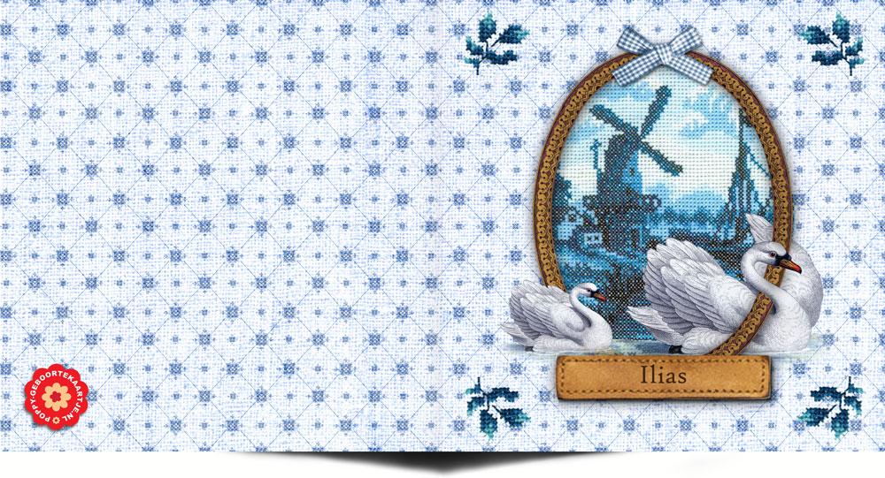 Een geboortekaartje in het thema Holland met geborduurd molentje. Een heel Hollands handwerkje voor alle nieuwe Hollandse wondertjes. Het geboortekaartje Holland kan altijd naar wens aangepast worden, de kleine aanpassingen doen we namelijk gratis.