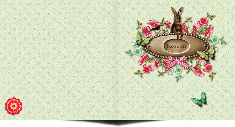 Geboortekaartje met vintage look met konijn en vlinders, geïnspireerd door elementen van vroeger zijn er een reeks geboortekaartjes ontworpen die uitstekend passen in de nostalgische, retro èn vintage stijl.