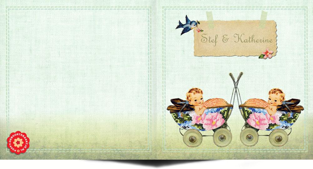 Geboortekaartje vintage stijl tweeling met elementen van vroeger. Het lijkt wel een handwerkje deze geboortekaart. In deze vintage stijl vind je nog veel meer geboortekaartjes bij Studio POPPY.