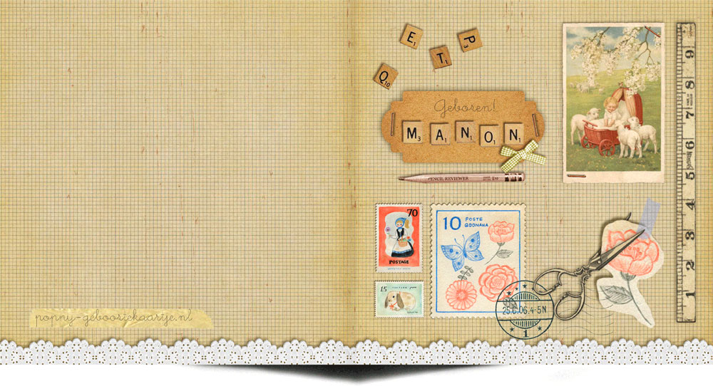 Geboortekaartje vintage moodboard. Elementen van vroeger voor een nostalgisch geboortekaartje.