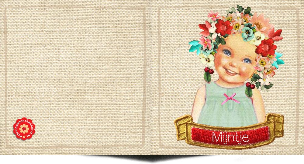 Geboortekaartje retro stijl. Nostalgische prents met een knipoog naar vroeger. Een serie retro geboortekaartjes voor meisjes bij Studio POPPY verkrijgbaar.