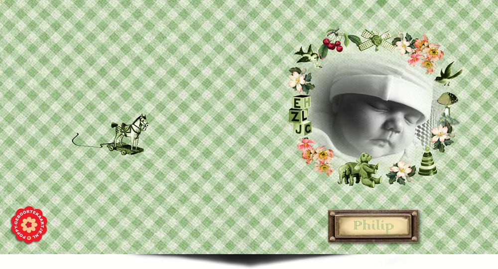 Retro geboortekaartje handwerk met foto