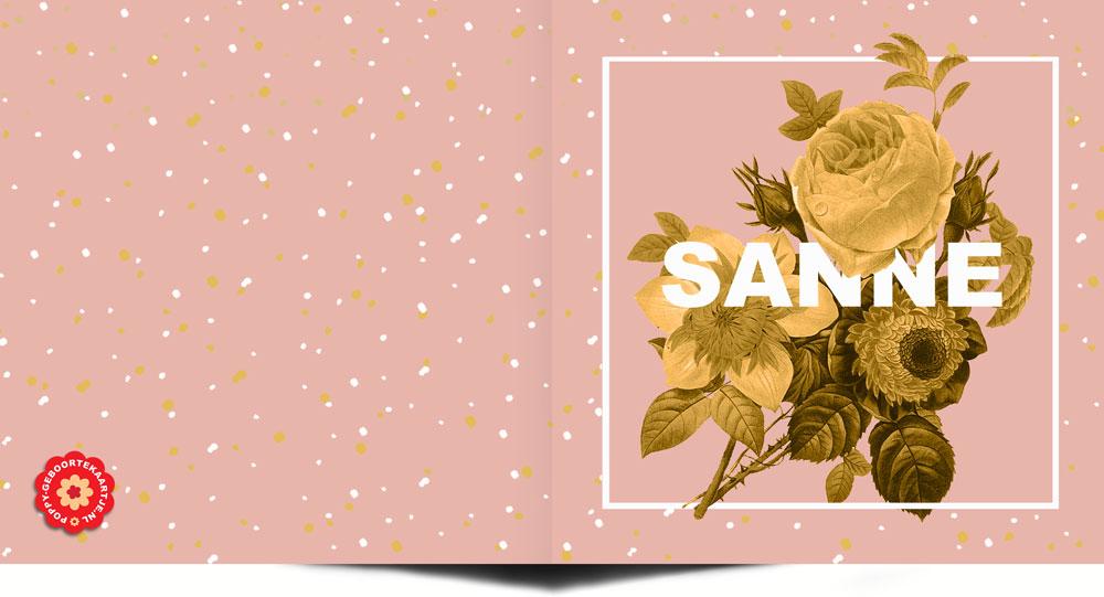 Geboortekaartje botanisch. Roze okergeel met botanische bloemen