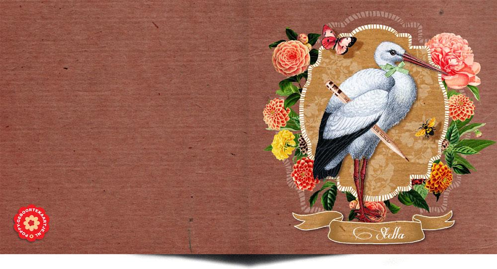 Geboortekaartje nostalgisch vintage met ooievaar. Een prachtige gedecoreerde geboortekaart met handgetekende elementen. Een geboortekaartje met een knipoog naar vroeger maar in een jasje van nu.