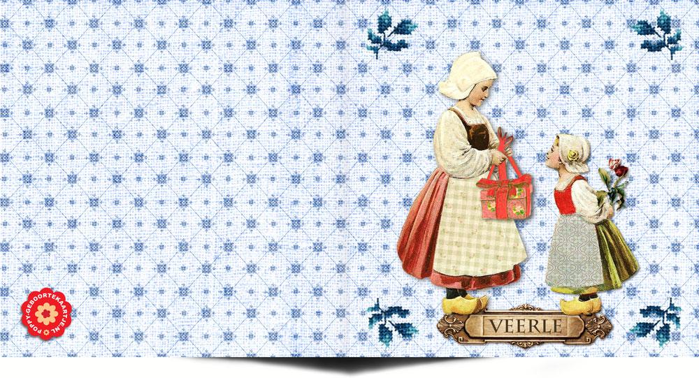 Geboortekaartje vintage stijl met elementen van vroeger in hollands thema. Het lijkt wel een handwerkje deze geboortekaart. In deze vintage stijl vind je nog veel meer geboortekaartjes bij Studio POPPY.