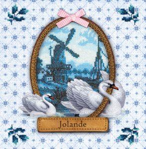 Hollands geboortekaartje vintage met borduursels, oud hollandse tegeltjes, molentje en zwanen. Het roze strikje maakt het een echt meisjes geboortekaartje.