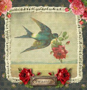 Nostalgisch geboortekaartje handwerk met zwaluw en rozen