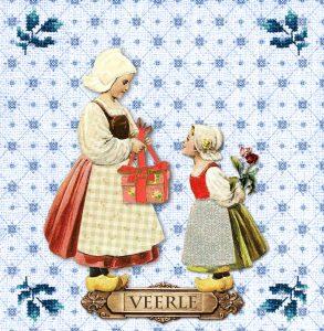 Een oud Hollands geboortekaartje met een nostalgisch tintje. De typisch Hollandse geboortekaartjes zijn tijdloos en uniek. De twee meisjes lijken wel uit een poësiealbum gelopen. Met de tulpen en de oud hollandse tegeltjes wordt het een nostalgisch hollands geboortekaartje.