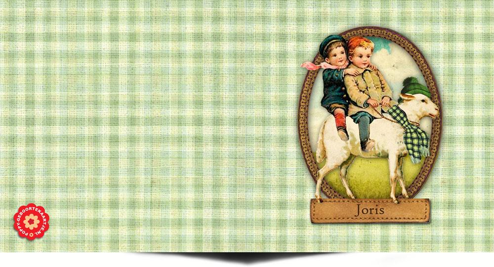 Nostalgisch geboortekaartje handwerk met foto en poësieplaatje