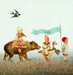 Nostalgisch geboortekaartje met dierenparade. De dierenparade bestaat uit een gans, beer, vos en schaap.