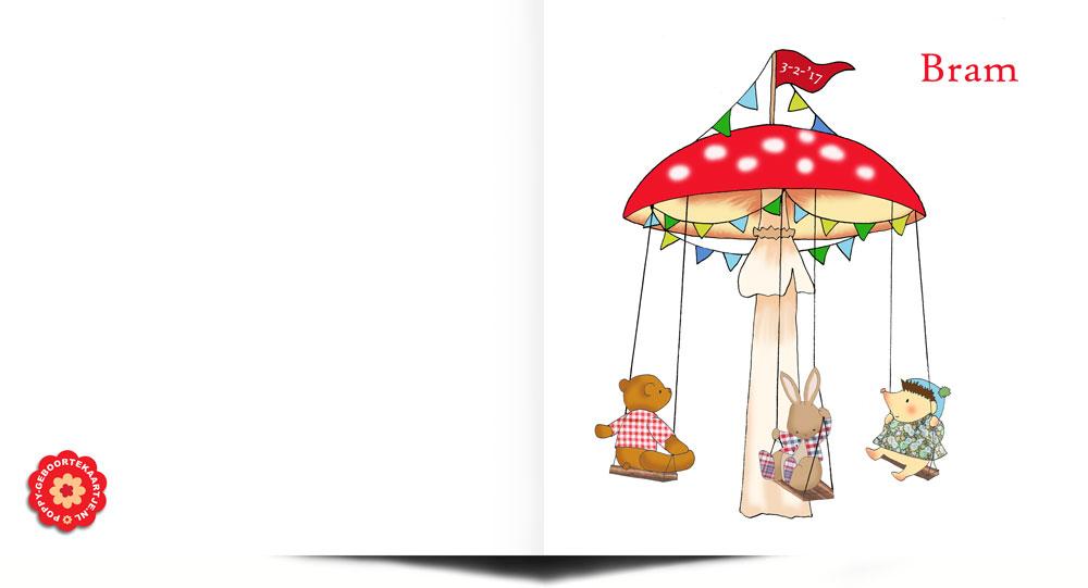 Handgetekend geboortekaartje met carousel kermis met konijntje beertje en egeltje. Geboortekaartje met illustratie van Studio POPPY.