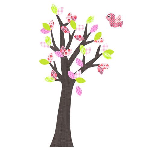 Behangboom lime groen roze met vogel